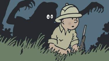 Détail de la couverture des Tribulations de Tintin au Congo