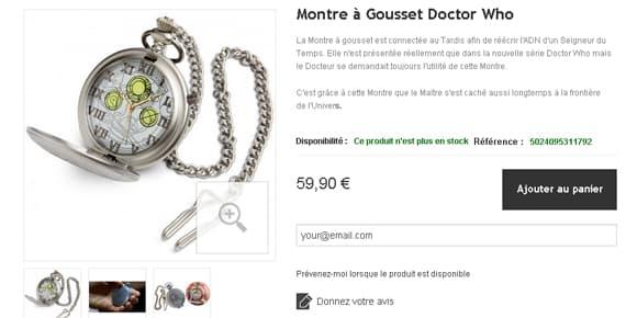 "Montre ""Dr Who""."