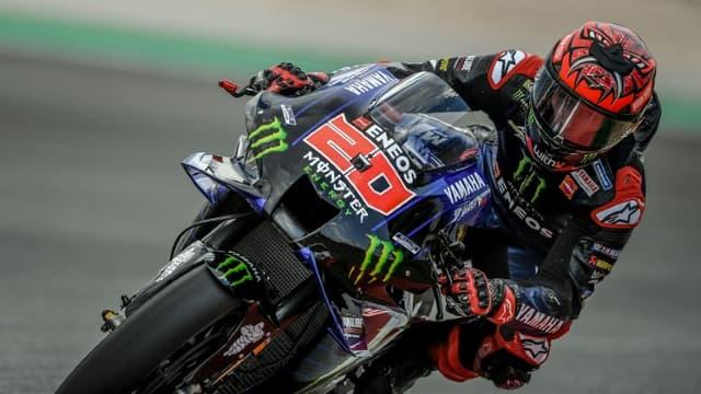 Le Français Fabio Quartararo (Yamaha), lors de la 2e séance d'essais libres du Grand Prix du Portugal en MotoGP, le 16 avril 2021 sur le circuit international d'Algarve à Portimao