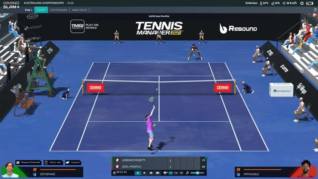 Un match dans Tennis Manager
