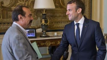 Emmanuel Macron et le secrétaire général de la CGT Philippe Martinez, le 23 mai 2017.