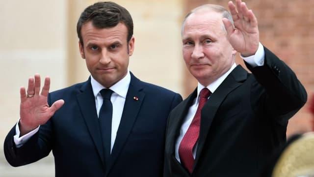 Emmanuel Macron et Vladimir Poutine le 29 mai 2017. -