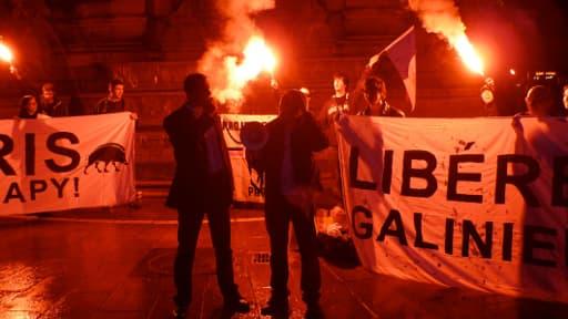 Une manifestation du Bloc Identitaire, en 2010 à Paris, en soutien à René Galinier.