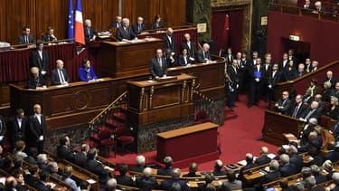 François Hollande devant le Congrès le 16 novembre 2015.