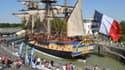 """La réplique de l'""""Hermione"""", le bateau avec lequel La Fayette a rallié l'Amérique en 1780, dans le port de Rochefort, le 17 mai 2014."""