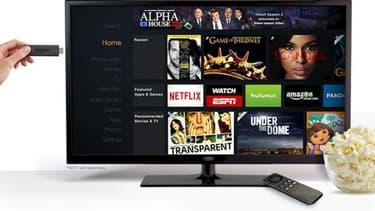 La nouvelle version de l'Amazon Fire TV, concurrent direct du Chromecast de Google.