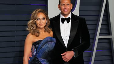 Jennifer Lopez et Alex Rodriguez à la fête post-Oscars 2019, le 25 février à Hollywood.