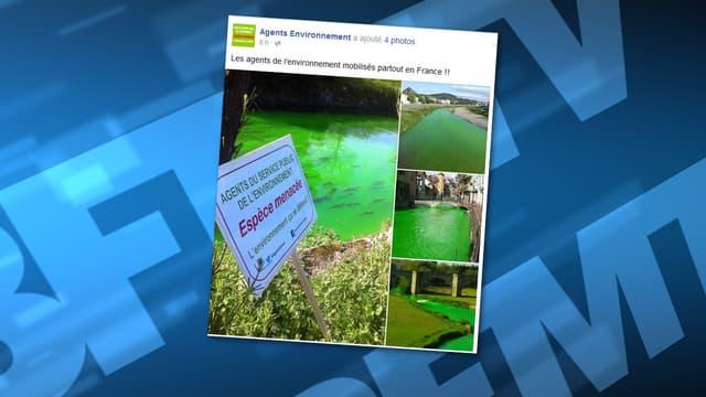Plusieurs rivières ont pris une teinte vert fluo, ce lundi.