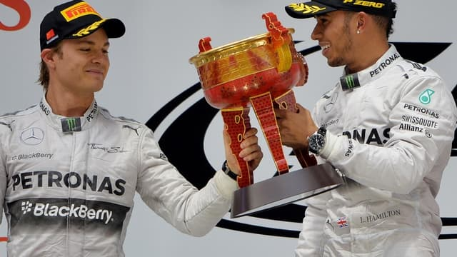 GP de Chine : La joie de Nico Rosberg et Lewis Hamilton
