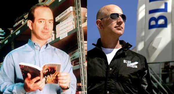 Jeff Bezos (à gauche en 1997, à droite en 2015 devant une fusée Blue Origin)