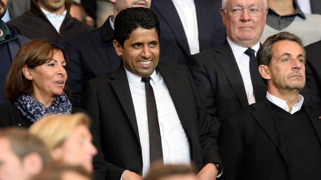Nasser Al-Khelaifi, le président du PSG (au centre), a largement été impacté par la taxe à 75%.