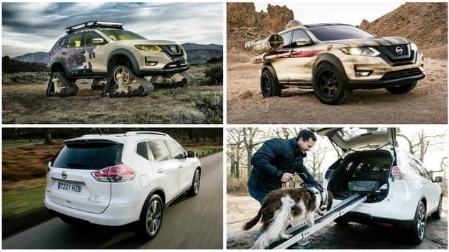 Le Nissan X-Trail, vendu avec chenilles, canons laser ou rampe d'accès pour chien.