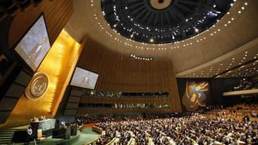 Amphithéâtre de l'Assemblée générale de l'Onu à son siège new-yorkais. Un comité de la Ligue arabe a décidé samedi de demander la reconnaissance par l'Onu d'un Etat de Palestine englobant la Cisjordanie et la bande de Gaza et avec Jérusalem-Est comme capi