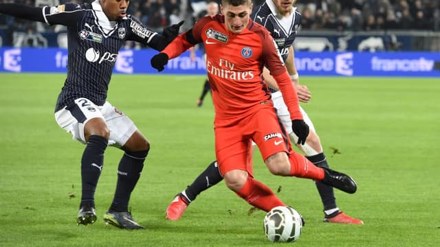 Lors de ses deux derniers matchs, le Parisien Marco Verratti (ici contre Bordeaux) portait des crampons sans logo.