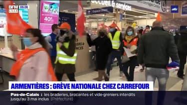 Armentières: une soixantaine de salariés de Carrefour ont fait grève samedi matin