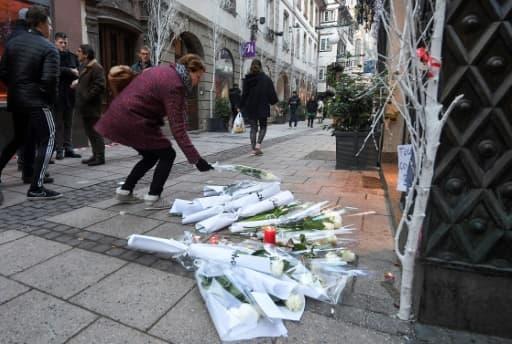 Hommages aux victimes le 12 décembre 2018 à Strasbourg, après l'attaque qui a endeuillé le marché de Noël