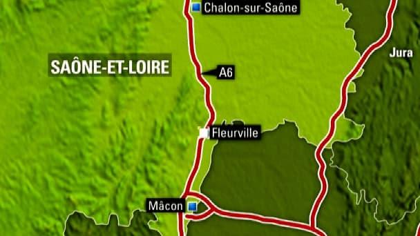 La collision s'est produite sur l'A6, à hauteur de Fleurville, en Saône-et-Loire.