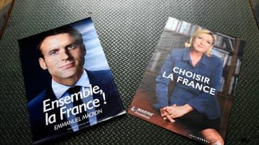 Les nouvelles affiches de campagne d'Emmanuel Macron et de Marine Le Pen pour le second tour.