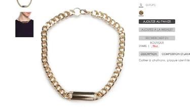 """Sur le site de Mango, les mentions des bijoux """"esclaves"""" ont été retirées. Ici, un collier qui était indiqué comme étant de """"style esclave""""."""