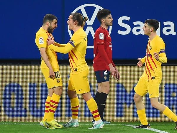 Griezmann fête le but de Alba face à Osasuna