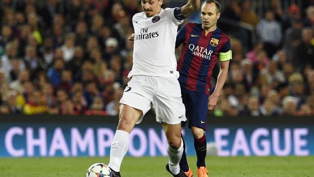 Zlatan Ibrahimovic (PSG) et Andres Iniesta (Barça)