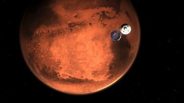Le robot Perseverance quelques minutes avant qu'il entre dans l'atmosphère martienne, le 15 février 2021