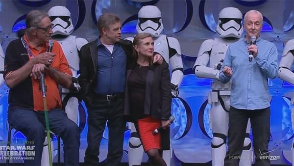 """Les """"vétérans"""" de Star Wars, à Anaheim jeudi."""