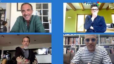 Nikos Aliagas avec les chanteurs Marc Lavoine, Pascal Obispo et Florent Pagny