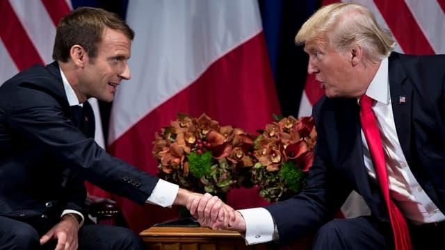 Emmanuel Macron et Donald Trump lors d'une rencontre officielle en septembre 2018.