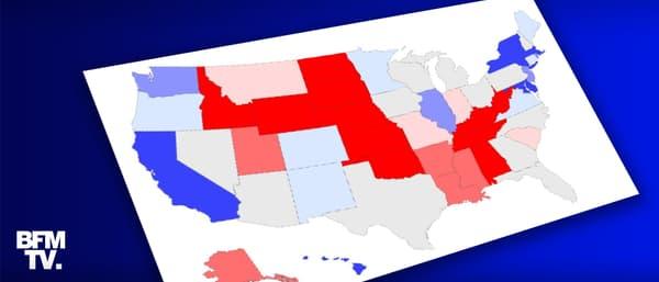 Carte des sondages de l'élection présidentielle américaine.