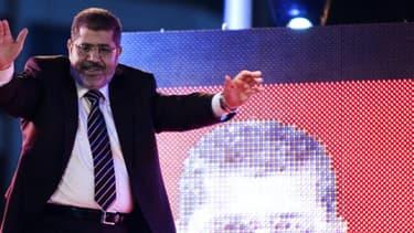 Mohamed Morsi, président de l'Egypte, et leader des Frères musulmans, pendant la campagne présidentielle le 12 mai 2012.