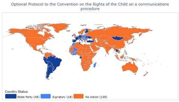 Pays ayant ratifié la possibilité pour un enfant de saisir le Comité des droits de l'enfant de l'ONU, s'il estime que leurs droits sont bafoués