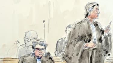 Matthieu (g.) derrière ses avocats, mardi, au premier jour de son procès.