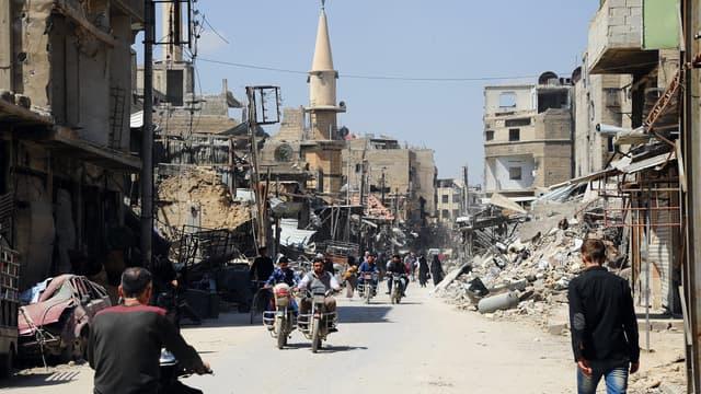 La ville de Douma,  dans la Ghouta orientale, où l'attaque chimique présumée se serait produite le 7 avril.