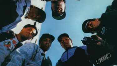 Détail de la pochette du premier album de N.W.A.