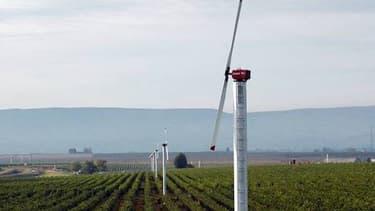 Les éoliennes anti-gel protègent les vignes en rabattant l'air chaud situésau niveau de leur hélice, vers le sol plus froid.