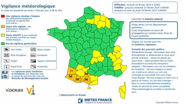 Cinq départements sont toujours placés en vigilance orange pluie-inondation ou crue