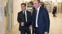 Nicolas Sarkozy et Jean-François Copé au siège de l'UMP fin 2014 après l'élection du premier au poste de président du parti.