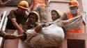 Evacuation d'un patient. Un incendie a ravagé un hôpital et fait au moins 40 morts vendredi à Calcutta, dans l'est de l'Inde. /Photo prise le 9 décembre 2011/REUTERS/Rupak De Chowdhuri