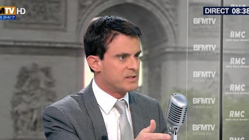 Le Premier ministre Manuel Valls sur le plateau de BFMTV-RMC, le 3 juin 2014.