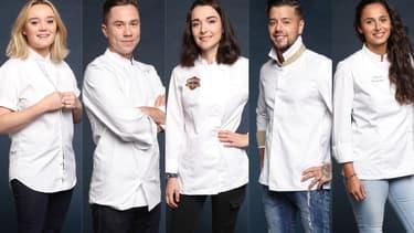 """Alexia Duchêne, Baptiste Renouard, Camille Maury, Florian Barbarot et Anissa Bolesteix, cinq des quinze candidats de """"Top Chef"""" saison 10"""