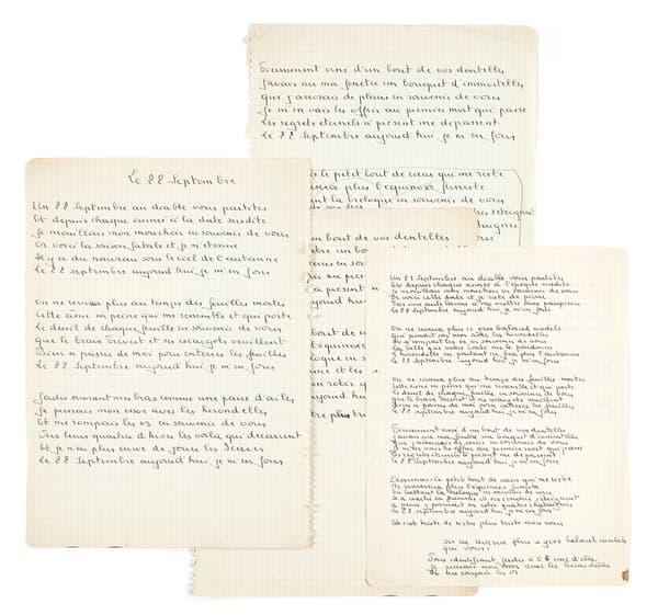 Manuscrits originaux de Georges Brassens pour la chanson Le Vieux Léon