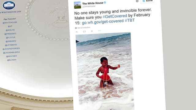 La Maison Blanche a tweeté un cliché de Barack Obama enfant, en maillot de bain, pour promouvoir l'Obamacare.
