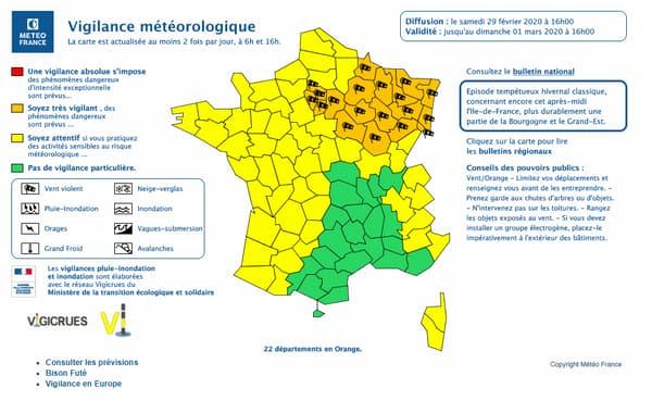 Les départements en vigilance orange