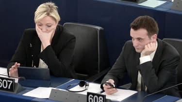 Marine Le Pen et Florian Philippot le 29 avril 2015 au Parlement européen.