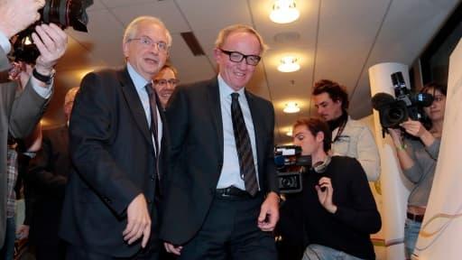 Le président du CSA Olivier Schrameck et le président de Canal+ Bertrand Meheut