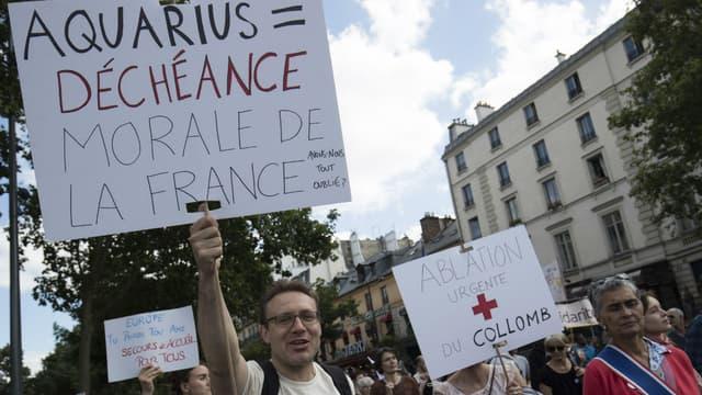 Une manifestation à Paris le 17 juin 2018 en soutien aux migrants