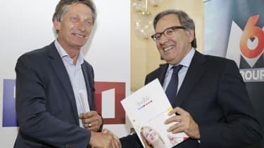 Nicolas de Tavernost (à gauche) , le patron de M6 et son homologue chez TF1 Nonce Paolini