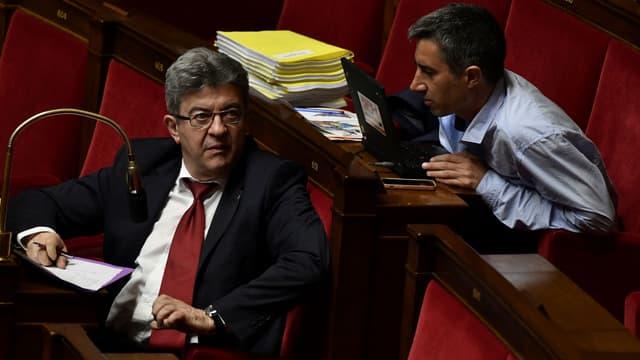 jean-Luc Mélenchon et François Ruffin à l'Assemblée nationale, le 22 mai 2018