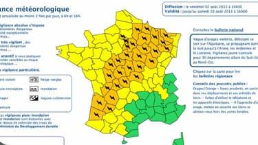 Météo France a placé vendredi 33 départements en vigilance orange pour orages